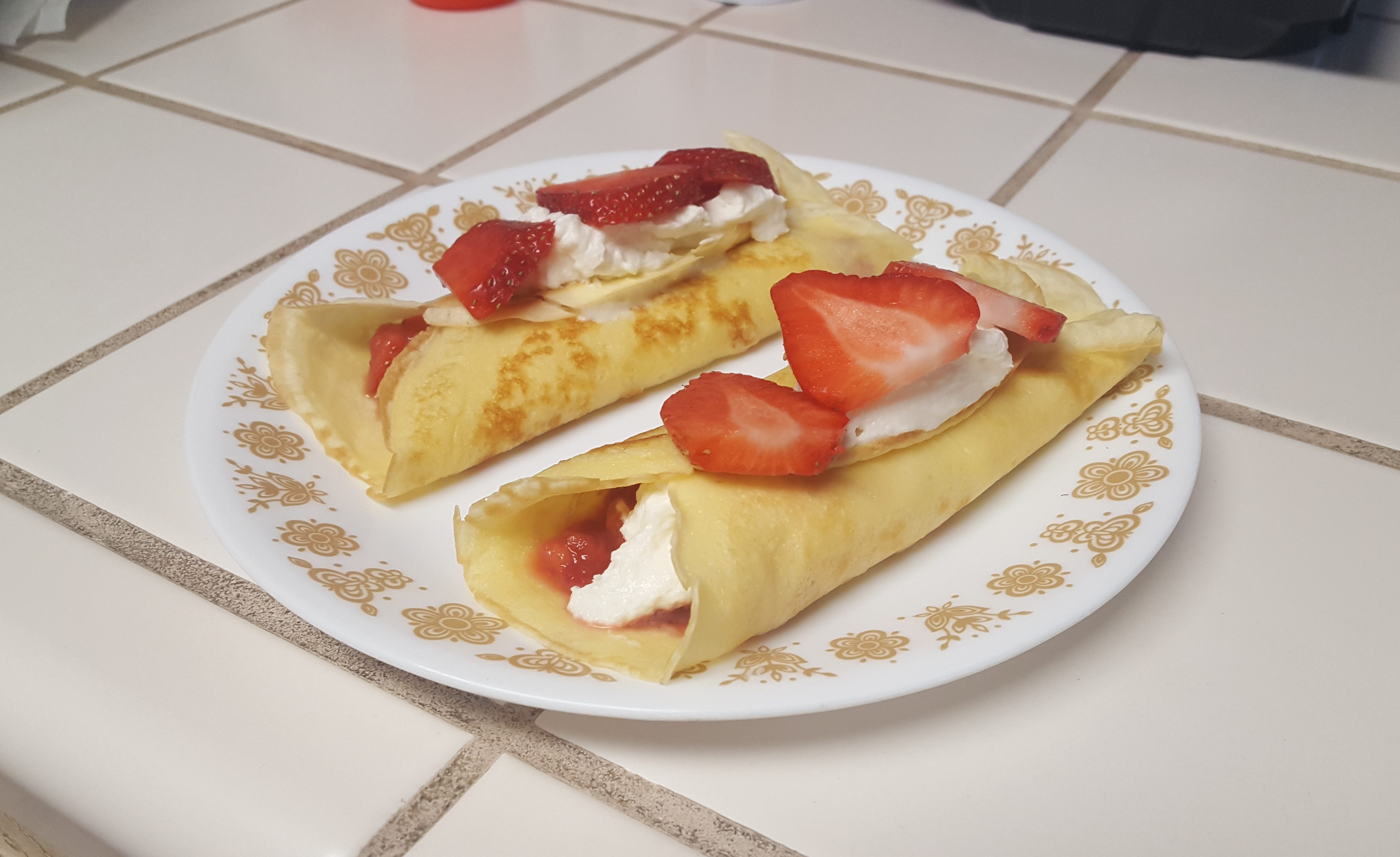 Strawberry and Creme Filled Crêpes
